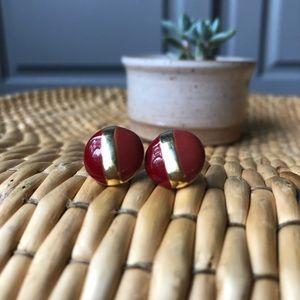 Vintage | Duotone Glazed Stud Pierced Earrings